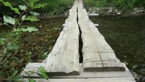 Den unga kvinnan promenerar en smal träbro över en bergflod campa och affärsföretagbegrepp stock video