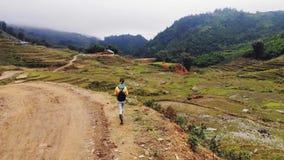 Den unga kvinnan promenerar v?gen bland risterrasserna i byn av katten kat n?ra staden av Sapa vietnam arkivfilmer