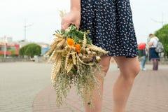 Den unga kvinnan rymmer den brokiga gräsbuketten under den Macovei celebratioen arkivfoton