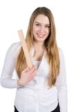 Den unga kvinnan rymmer en linjal arkivfoto