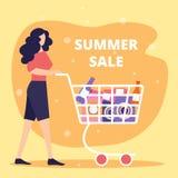 Den unga kvinnan skjuter shoppingvagnen som är full av köp vektor illustrationer