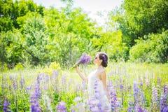 Den unga kvinnan som är lycklig, anseendet bland fältet av violetta lupines som ler, lila blommar Blåttsky på bakgrunden Sommar m Royaltyfria Foton