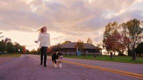 Den unga kvinnan som går med en hund i höst, parkerar, leder henne på en koppel långsam rörelse stock video