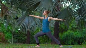 Den unga kvinnan som gör yoga, övar i ett tropiskt parkerar arkivfilmer