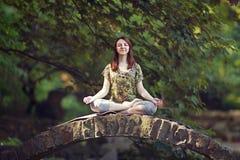 Den unga kvinnan som gör yoga, övar i park'sens bro Royaltyfri Fotografi
