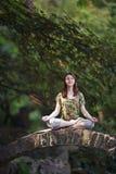 Den unga kvinnan som gör yoga, övar i park'sens bro Royaltyfri Bild
