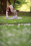 Den unga kvinnan som gör yoga, övar i park'sens gräsmatta Royaltyfri Fotografi