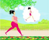 Den unga kvinnan som joggar, den feta flickan, drömmer för att vara en mager flicka Royaltyfria Foton
