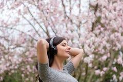 Den unga kvinnan som lyssnar till musik p? tr?dl?s h?rlurar i, parkerar med tr?d f?r den k?rsb?rsr?da blomningen royaltyfria foton