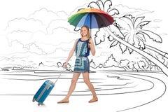 Den unga kvinnan som reser den tropiska ön i loppbegrepp Royaltyfri Fotografi
