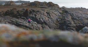 Den unga kvinnan som sitter på, vaggar av ön av Yeu royaltyfri bild