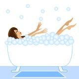 Den unga kvinnan tar ett bad med skum vektor illustrationer