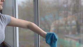 Den unga kvinnan tvättar fönster med en blå trasa lager videofilmer