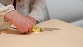 Den unga kvinnliga formgivaren med måttbandet på hennes halsanseende i sömnadstudio och teckning fodrar med krita och regel lager videofilmer