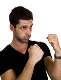 Den unga mannen är klar att boxas Royaltyfria Foton
