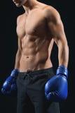 Den unga mannen är klar att boxas Royaltyfri Bild