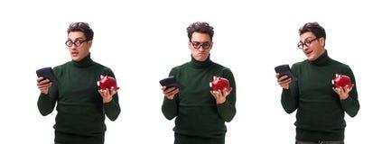 Den unga mannen för nerd med piggybank som isoleras på vit royaltyfria foton