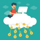 Den unga mannen gör pengar på molnet Online-affärsidéillustration stock illustrationer