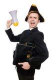 Den unga mannen i dräkt med piratkopierar hatten och megafonen Royaltyfri Fotografi