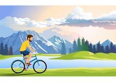 den unga mannen reser med cykeln p? v?gen runt om sj?n , illustration royaltyfri illustrationer