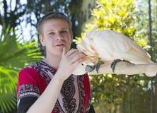Den unga mannen skrapar en vit kakaduapapegoja på en snut arkivfoto