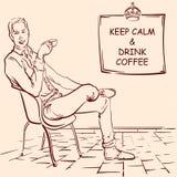 Den unga mannen som dricker kaffe i Paris, skissar Fotografering för Bildbyråer