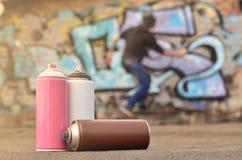 Den unga mannen spolierar egenskapen för stads` som s drar olagligt vari arkivfoton