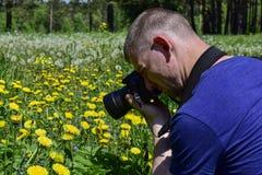 Den unga mannen tar foto av gula blommor på fältet royaltyfri bild