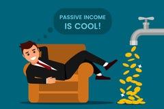 Den unga mannen vilar och jublar passiv inkomst stock illustrationer