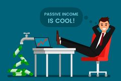 Den unga mannen vilar och jublar passiv inkomst royaltyfri illustrationer
