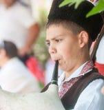 Den unga musikern på nationella smycken i ferie fotografering för bildbyråer