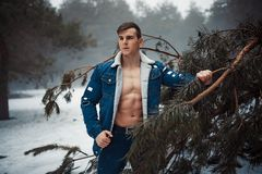 Den unga muskulösa mannen i knäppt upp omslag med gör bar bröstställningar bredvid sörjer trädet i vinterskog royaltyfria bilder