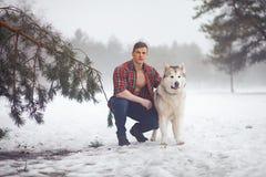 Den unga muskulösa mannen i knäppt upp skjorta sitter och kramar hunden som malamuten på går i dimmig skog för vinter royaltyfri bild