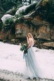 Den unga nätta flickan väntar på hennes vän i mitt av bergen som täckas med snö royaltyfri fotografi