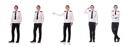 Den unga piloten som isoleras p? viten arkivfoton