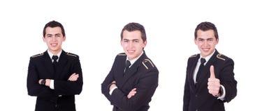 Den unga piloten som isoleras p? viten royaltyfria foton