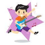 Den unga pojken som spelar elkraft, vaggar lycklig förälskelsemusik för gitarr vektor illustrationer