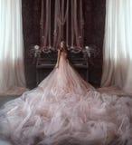 Den unga prinsessan står i det gotiska rummet på bakgrunden av ett mycket gammalt piano Flickan har en krona och ett lyxigt royaltyfri fotografi