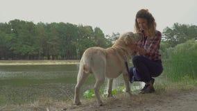 Den unga rödhårig manflickan slår hennes hund nära floden lager videofilmer