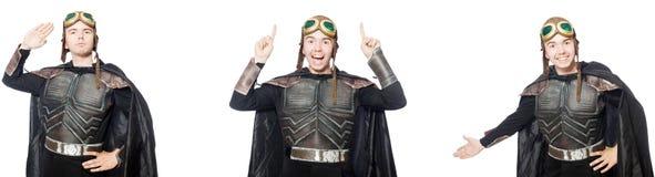 Den unga roliga mannen i pansardr?kt royaltyfri fotografi