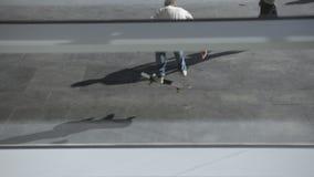 Den unga skateboarderen landar ett svårt trick, medan åka skridskor i den stads- skridskon för att parkera lager videofilmer