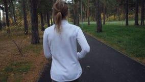 Den unga sportiga kvinnan som kör i hösten, parkerar arkivfilmer
