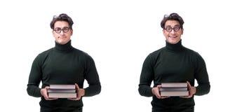 Den unga studenten för nerd med böcker som isoleras på vit royaltyfria bilder