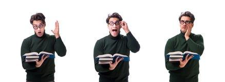 Den unga studenten för nerd med böcker som isoleras på vit fotografering för bildbyråer