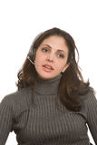 Kvinna med hörlurar med mikrofon Fotografering för Bildbyråer