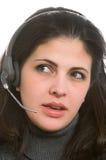 Kvinna med hörlurar med mikrofon Royaltyfri Fotografi