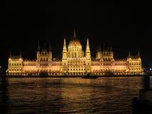Den ungerska parlamentbyggnaden och Danubet River Royaltyfri Bild