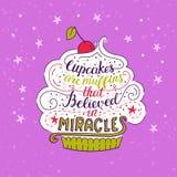 Den unika bokstäveraffischen med muffin för ett uttryck är muffin som trodde i mirakel royaltyfri illustrationer