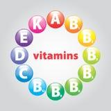 Pryder med pärlor av vitaminer Fotografering för Bildbyråer