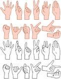 Den universella handen undertecknar gester Arkivfoton